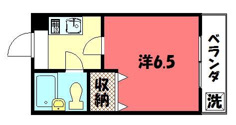 物件番号: 1075900167 森マンション5 京都市左京区一乗寺地蔵本町 1K マンション 間取り図