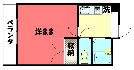 物件番号: 1075901399 ソレイユ  京都市左京区一乗寺下リ松町 1K マンション 間取り図