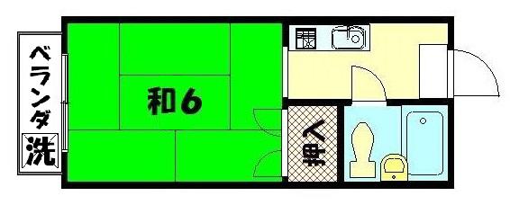 物件番号: 1075902696 ハイツ白川 京都市左京区浄土寺真如町 1K マンション 間取り図