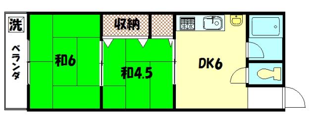 物件番号: 1075903709 コーポ吉沢  京都市左京区一乗寺払殿町 2DK マンション 間取り図