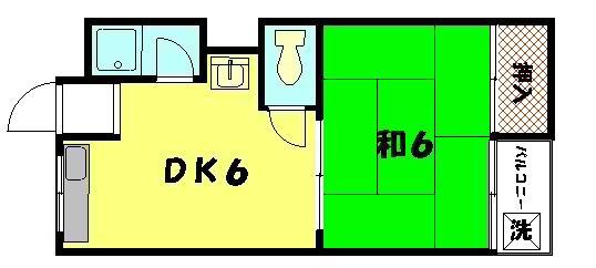 物件番号: 1075904612 石川ハイツ 京都市左京区岩倉西五田町 1DK ハイツ 間取り図