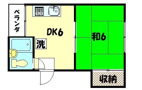 物件番号: 1075904792 ハイツやまざき 京都市左京区岩倉三宅町 1DK マンション 間取り図