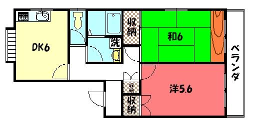物件番号: 1075907734 パークハイムミカサ  京都市左京区岩倉下在地町 2DK マンション 間取り図