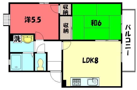 物件番号: 1075908048 PASSYⅡ 京都市左京区岩倉西河原町 2LDK ハイツ 間取り図