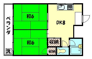 物件番号: 1075909068 ロータリーマンション修学院  京都市左京区山端川原町 2DK マンション 間取り図