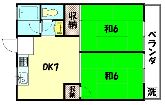 物件番号: 1075910285 ハイツ新喜  京都市左京区山端大城田町 2DK マンション 間取り図