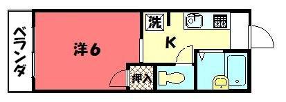 物件番号: 1075910852 アネックスエンジュ 京都市左京区北白川蔦町 1K ハイツ 間取り図
