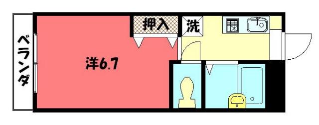 物件番号: 1075913337 稲井ハイツ北山 京都市左京区下鴨南芝町 1K ハイツ 間取り図