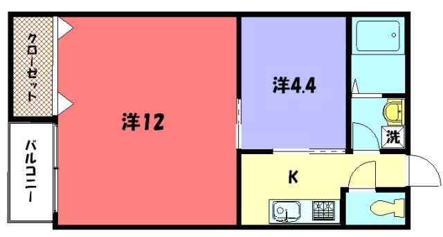 物件番号: 1075913704 ザクセル 京都市左京区吉田中阿達町 2K マンション 間取り図