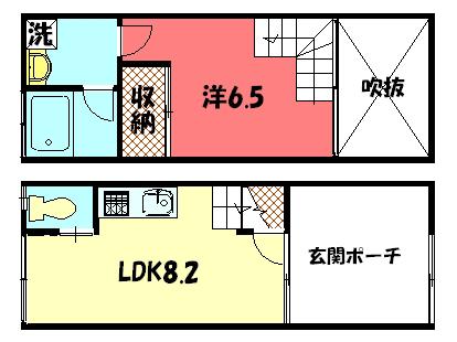 物件番号: 1075914263 ARICA 京都市左京区高野清水町 1LDK ハイツ 間取り図