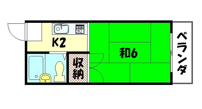 物件番号: 1075914350 メゾン洛苑 京都市左京区高野清水町 1K マンション 間取り図