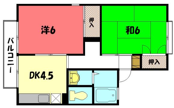 物件番号: 1075914940 セジュールミヤケ 京都市左京区岩倉中大鷺町 2DK ハイツ 間取り図