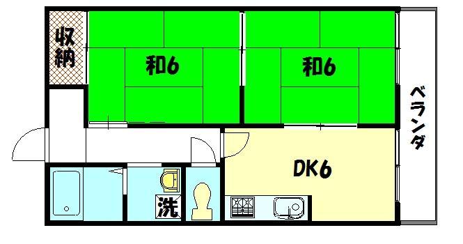 物件番号: 1075916300 ドミール岩倉 京都市左京区岩倉花園町 2DK ハイツ 間取り図