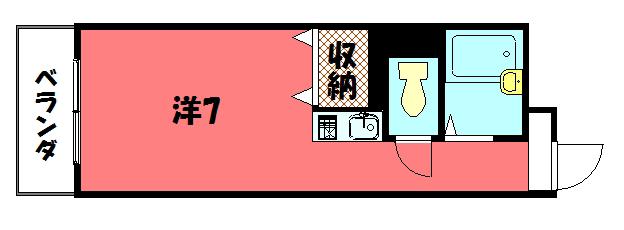 物件番号: 1075917094 リヴァク鴨川  京都市左京区新生洲町 1R マンション 間取り図
