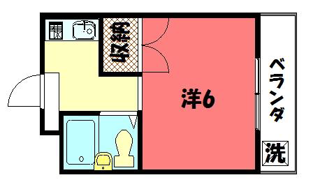 物件番号: 1075917155 ロイヤルコーポタカノ  京都市左京区高野清水町 1K マンション 間取り図