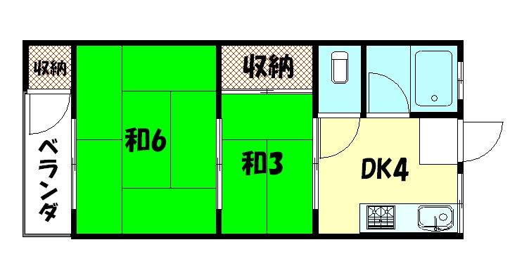 物件番号: 1075917571 二条マンション 京都市左京区孫橋町 2DK マンション 間取り図