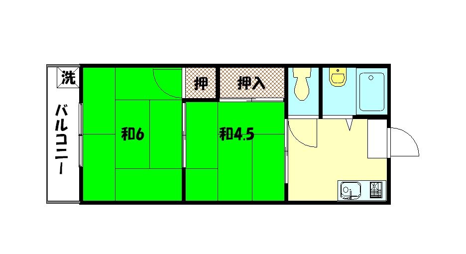 物件番号: 1075918551 セントラル修学院 京都市左京区修学院中林町 2K マンション 間取り図