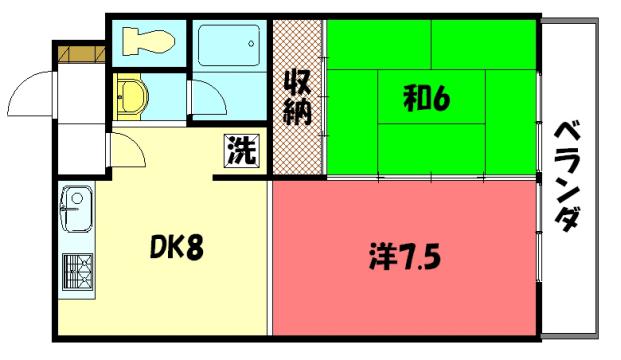 物件番号: 1075919022 グリーンパレスコムラ 京都市左京区岩倉幡枝町 2DK マンション 間取り図