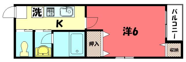 物件番号: 1075919425 ペイサージュ松ヶ崎  京都市左京区松ケ崎今海道町 1K アパート 間取り図