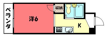 物件番号: 1075919849 コルザ河村  京都市左京区松ケ崎井出ケ海道町 1K マンション 間取り図