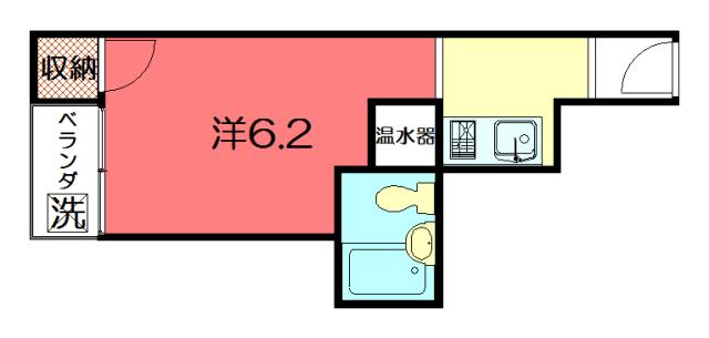 物件番号: 1075919955 アドニス  京都市左京区下鴨西高木町 1K マンション 間取り図