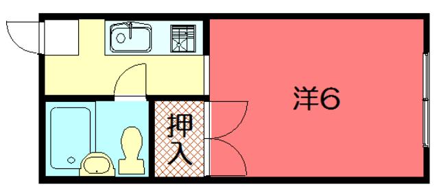 物件番号: 1075920144 サンローレル  京都市左京区岩倉長谷町 1K アパート 間取り図