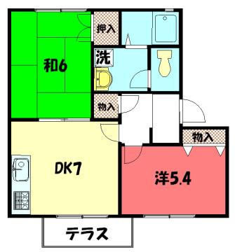 物件番号: 1075921242 バウムヴィレッジ  京都市左京区岩倉南池田町 2DK ハイツ 間取り図