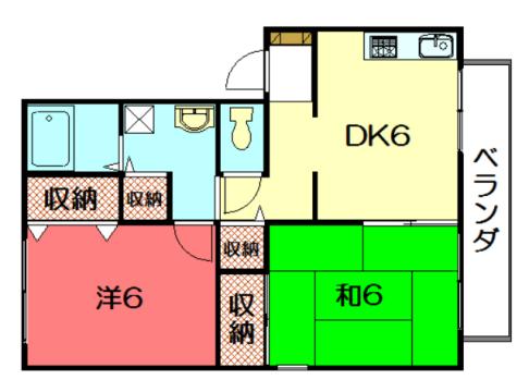 物件番号: 1075921503 セジュール離宮 京都市左京区修学院南代 2DK ハイツ 間取り図